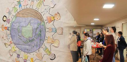 La salle des fêtes de Crépy-en-Valois décorée par les enfants de la MJC et du Centre Social lors du Forum Culturel de la Différence en 2017