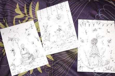 3 illustrations réalisées par l'illustratrice Cloé Perrotin pour la tombola du Salon du Livre de Châtillon-sur-Chalaronne 2018