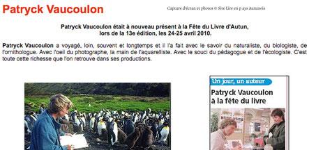 Capture d'écran et photo de Patryck Vaucoulon sur le site Lire en pays Autunois