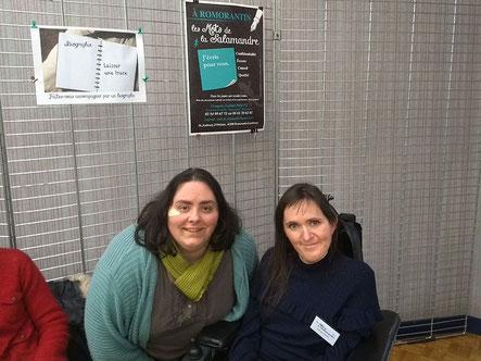 L'illustratrice Cloé Perrotin et la correctrice et la biographe au Salon du Livre de Lamotte-Beuvron 2018 organisé par le GRAHS