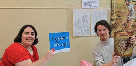 La team YIl Edition avec l'illustratrice Cloé Perrotin et le BDiste Guillaume Delacour au Forum Culturel de la Différence de Crépy-en-Valois en 2017