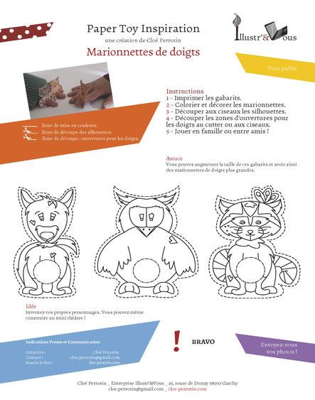 L'aperçu de la fiche des papertoys de marionnettes de doigts gratuite réalisée par l'illustratrice Cloé Perrotin