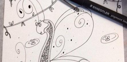 Détail d'une illustration d'un papillon en dentelles réalisée par l'illustratrice Cloé Perrotin au 20ème Salon du Livre de Saint-André-en-Morvan en 2017