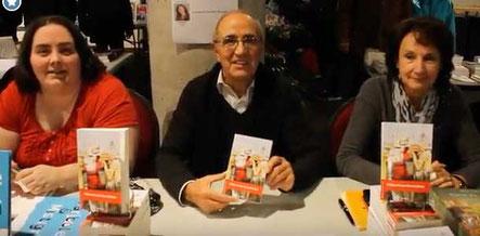 L'auteur Michel Fontaine, sa femme et l'illustratrice Cloé Perrotin au Salon du Livre de Vierzon 2017