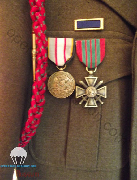 French croix de guerre award and fouragère Gary DAVIS jacket.