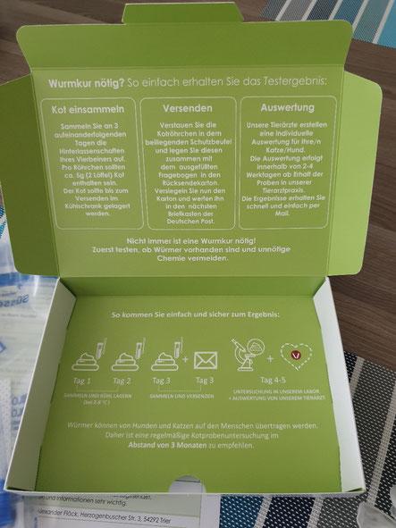 Karton Wurmtest Set