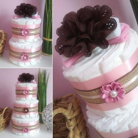 Etsy Québec, créateur La Marmaille d'Izazou gâteau de couche rose