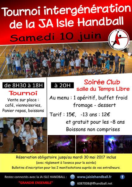 tournoi intergénération de la JA Isle Handball le 10 juin 2017