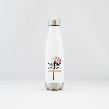"""Trinkflasche / Thermoflasche aus Edelstahl """"einatmen - ausatmen"""""""