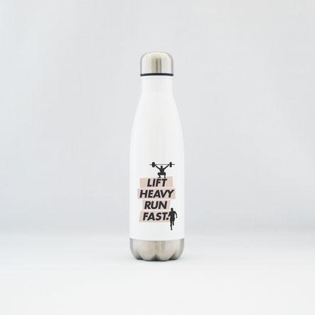 """Trinkflasche / Thermoflasche aus Edelstahl """"lift heavy run fast"""""""