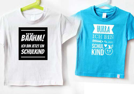 Einschulung - bunte T-Shirts zur Einschulung - nähfein