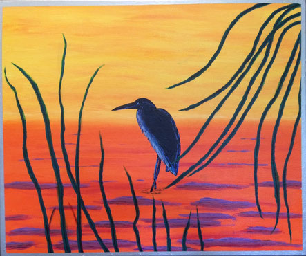 """""""Aigrette Bleue"""" 60cm x 50cm Multi Media on canvas $100 (excluding freight)"""