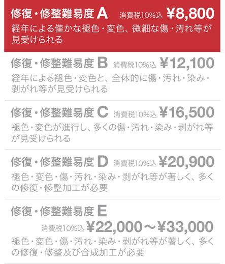 修復・修整難易度A ¥6,000(税抜)