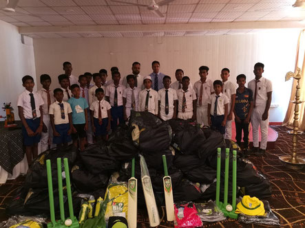 Sri Lankan youngsters pictured with Cricket Sri Lanka Honorary Treasurer, Mohan Da Silva at St. Patrick's College, Jaffna. participating
