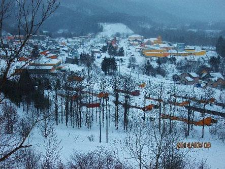 雪の西興部村市街地