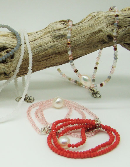 Kurze Swaorvski-Ketten mit Perle
