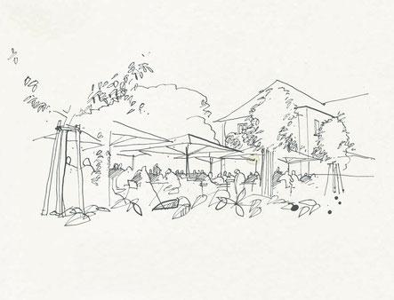 Skizze des Brauhauses in Karlsruhe schwarz weiß