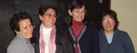Irma de León, Ercilia Vera (Animadora Provincial), Julia Elizabeth Coronel y Ángela Urbieta.