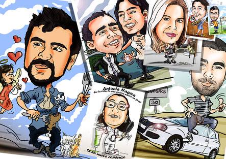 Caricaturas personalizadas, caricatura individual, caricatura de pareja, caricatura a color o blanco y negro, de grupo, etcètera.