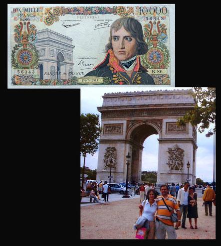 El Arco de Triunfo de París en el billete de 10.000 francos de 1955
