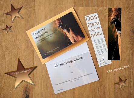 Geschenk-Gutschein für ein pferdeunterstütztes Coaching_inkl. Lesezeichen_horse-feedback.ch
