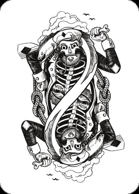 illustration - maritimer bube mit muräne und paddel