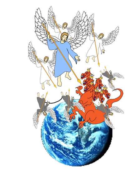 Après leur défaite, Satan le Diable et ses anges sont précipités sur la Terre. Le dragon est Satan le diable. Satan signifiant « opposant » et diable « calomniateur ». Satan sait qu'il lui reste peu de temps, il est animé d'une grande colère!