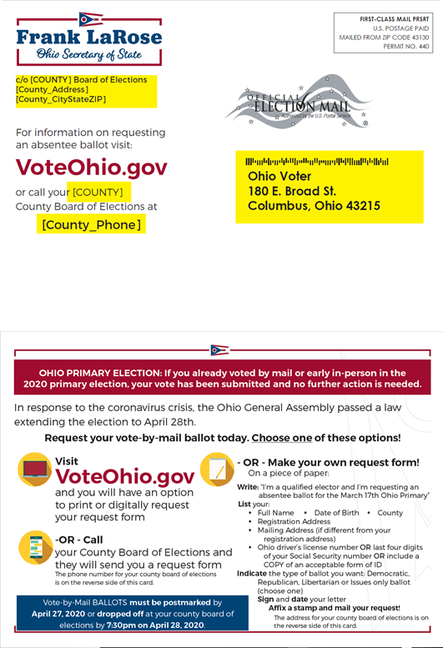2.4 million dollars  were spent by Ohio to print and send 7.8 million postcards detailing how to vote by mail and the new deadlines. Why not directly send the voting ballot at the same time as is done in Colorado, Hawaii, Oregon, Utah and Washington?
