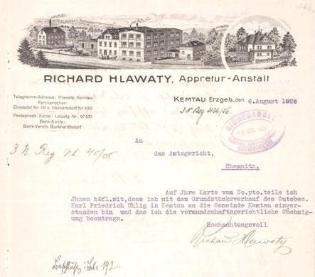 Firmenbogen von 1926