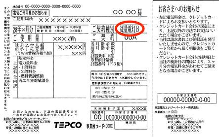 東京電力エナジーパートナー(TEPCO)検針票のイメージ(従量電灯B)