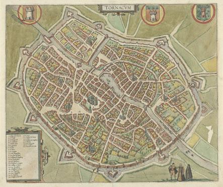 Plattegrond van Doornik - Frans van Hogenberg - 1588 Rijksmuseum Amsterdam