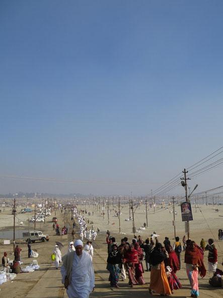 2013年1月、クンブメーラ祭が開催されたアラハバードにて。乾季にはガンガー(ガンジス河)の河底が露わになる