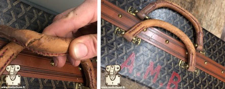 Suitcase with 6 Goyard  Circa 1920 shoes , the leather handles were broken. Identical restoration. Read more...