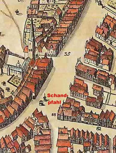 Schandpfahl und Brunnen - Alerdink-Plan
