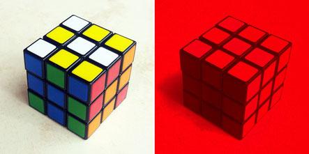 Ruik's cube en lumière blanche et en lumière rouge