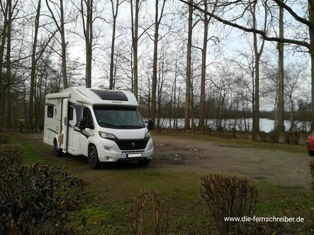 Unser Wohnmobil am einsamen Alberssee Nähe Lippstadt