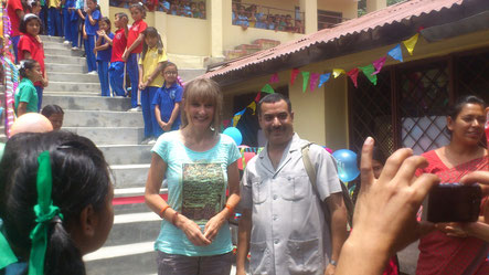 After the earthquake: Inauguration of the new staircase at SDB school in July 2015