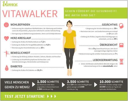 Vitawalker bestimmt Aktivität und liefert Bewegungstipps. Bildquelle: www.vamos-schuhe.de