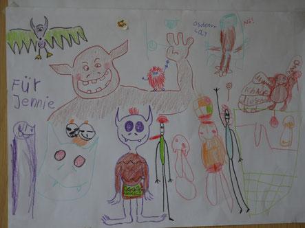 (für mich gemalt von einer Sechsjährigen mit Hilfe ihrer großen Schwester)