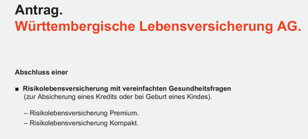 Württembergische Risikolebensversicherung wenig Gesundheitsfragen