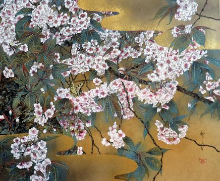 夢見草-鬱金桜- 60.6x72.7cm 雲肌麻紙・岩絵具・金箔