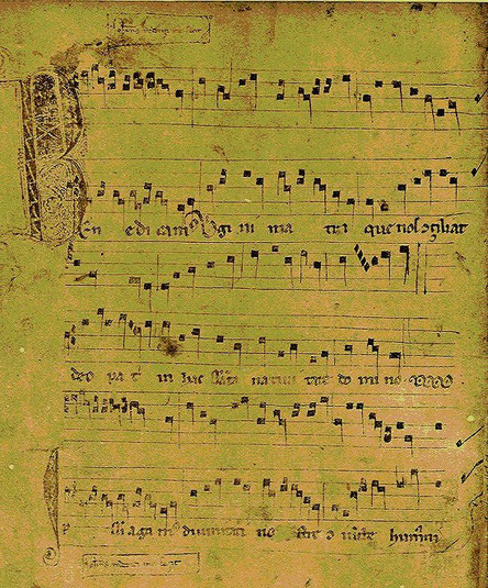 """ Benedicamus virgini matri "", conduit à deux voix ou diaphonie."