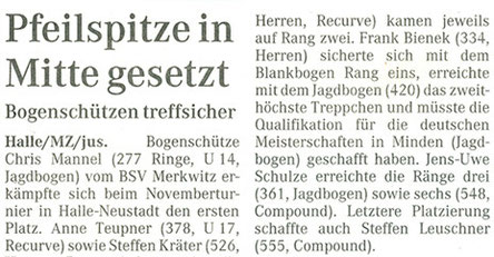 Artikel: Merkwitzer Bogenschützen beimNovemberturnier in Halle-Neustadt