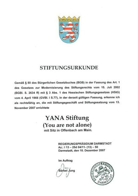 Anerkennungsurkunde von Regierungespräsidium Darmstadt vom Dez.2007