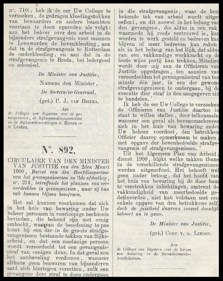 Circulaire uit verzameling wetten besluiten en voorschriften van het Gevangeniswezen 1900- 1909