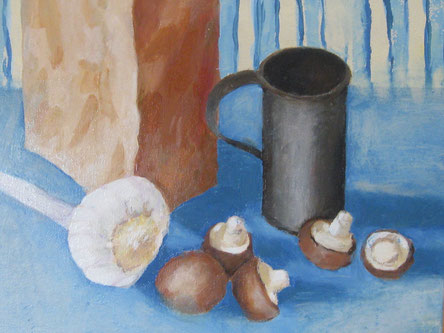 Pilze mit Knoblauch, Öl auf Lw, 25x30