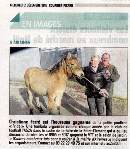 Article du Courrier Picard du mercredi 2 décembre 2015 en page locale