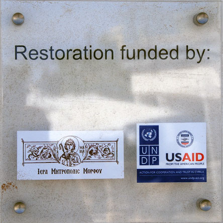 Plaque on the wall of the restored 'Peristerona House'