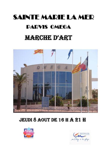 Exposition sur le marché d'art des artistes peintre du Languedoc Roussillon