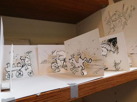 Pop Up Karten Segelschiff, Hund, Radfahrer, Regen, Hasen, Geburt, Umzug